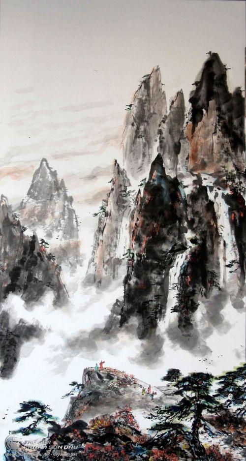 Tranh Thủy Mạc Sương Mờ Đỉnh Đá