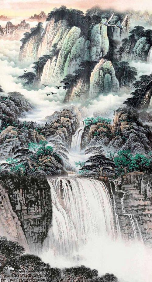 Tranh Thủy Mạc Thác Đổ Núi Cao Trùng Điệp