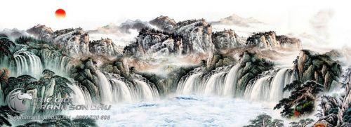 Tranh Thủy Mạc Thác Đổ Sương Bạc