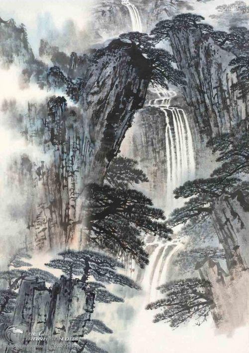 Tranh Thủy Mạc Thác Đổ Từ Đỉnh Núi Cao