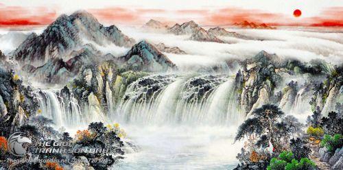 Tranh Thủy Mạc Thác Lớn Hùng Vĩ Hoang Hôn