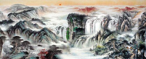 Tranh Thủy Mạc Thác Nước Hoang Sơ Tiên Cảnh