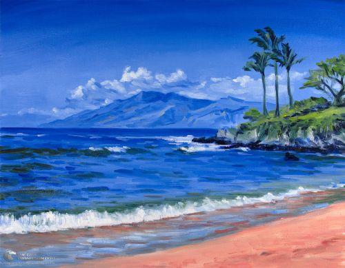 Tranh Vẽ Biển Xanh Tuyệt Đẹp