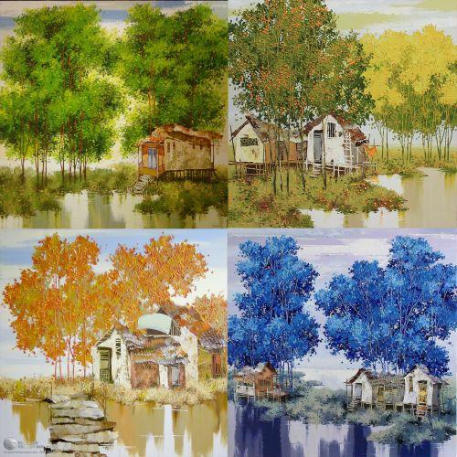 Tranh Vẽ Bốn Mùa Xuân Hạ Thu Đông Màu Sắc Cổ Điển