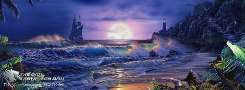 Tranh Vẽ Cảnh Biển Đêm Sóng Vỗ