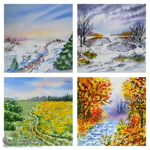 Tranh Vẽ Phong Cảnh Bốn Mùa Xuân Hạ Thu Đông