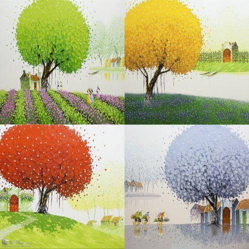 Tranh Vẽ Sơn Dầu Bốn Mùa Xuân Hạ Thu Đông Đẹp